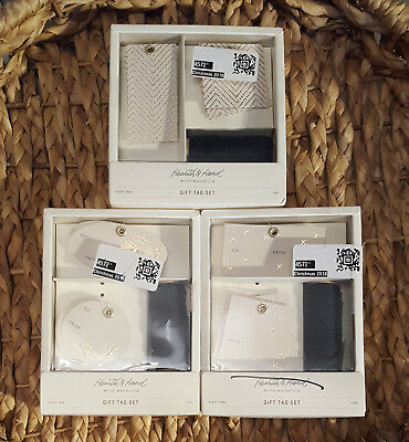 Hearth /& Hand Gift Tag Set 8 Tags And Ribbon Leaf Lot Of 2 Boxes 16 Tags Total