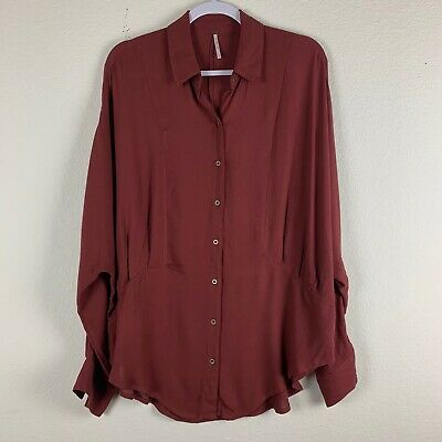 Free People Womens True Affection Red Earth Dolman Sleeve Button Down Tunic S