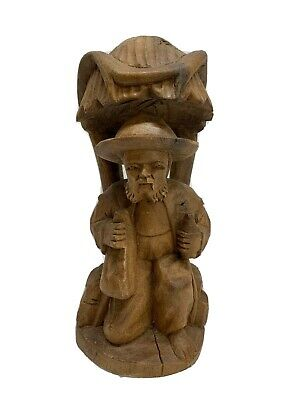 Antique Folk Art Wood Carving Figure Man Carved Caricature Black Forest 8""