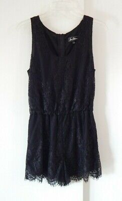 womens black SAM EDELMAN jumper jumpsuit romper shorts lace sleeveless small 4