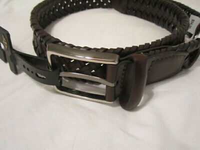 Mens Dockers Belt Braided Faux Leather Brown Size S-30-32  Nwt!