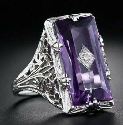 Huge Princess Cut 5.2CT Amethyst Women 925 Silver Ring Jewelry Engagement Size 9