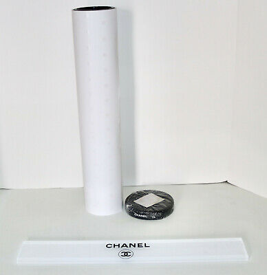 CHANEL roll of wrapping paper ribbon and store display sign