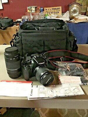 Canon EOS Rebel T3 Camera 18-55mm + Canon Zoom Lens EF 75-300mm + Bag/Straps etc