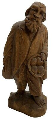 Antique Folk Art Wood Carving Figure Man Carved Caricature Black Forest Beggar