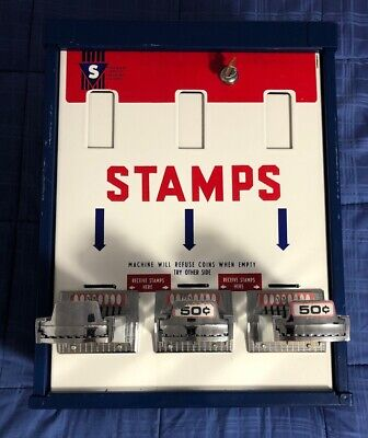 Postage Stamp Vending Machine - Three Vertical 8 Coin Slots