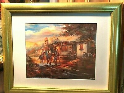 Gina Femrite Picture Framed Art Print Wall Decoration western cowboys riding