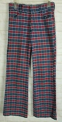 Vintage 70s Sears Youth Boy Pants 12 Slim 25X26 Red Plaid Cotton Bell Bottoms