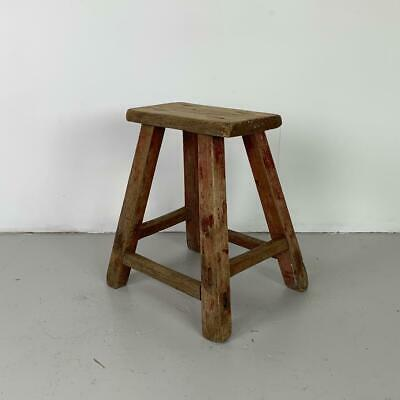 Vintage Rustic Antique Wooden Stool Milking Large Waxed W133