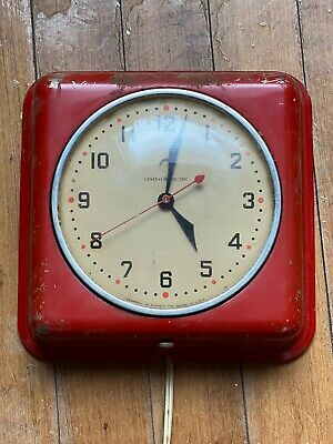 Vintage WORKING General Electric 1950's Kitchen Wall Clock Model 2QH2 Rare RED