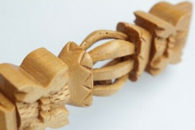 Swedish Vintage folk wooden hand carved letter knife  with ball in cage