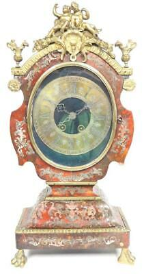 Antique French Inlaid Boulle Bracket Clock 8 Day Strike Shell Mantel Clock C1800