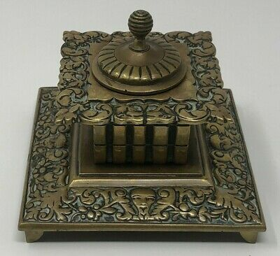 Vtg Brass Inkwell Ornate Victorian Style Spooky Faces