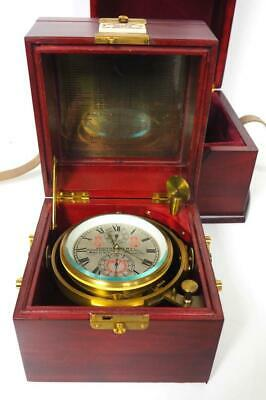 Rare Vintage 2Day English Detent Single Fusee Double Boxed Marine Chronometer