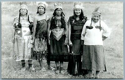 Canadian Indian Women Antique Real Photo Postcard Rppc