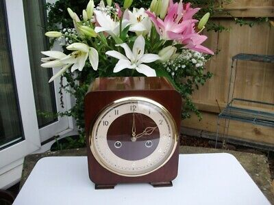 Smiths Petite Mahogany 8 Day Striking Mantel Clock. 1953. Fully Overhauled.