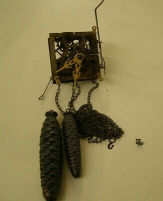 Antique Hubert Herr Coo Coo Clock Movement with chains, weights, & hands