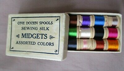 Box of 12 Vintage Midgets Silk Sewing Thread Assorted Colors