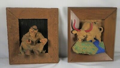 Vtg. PAIR of LOFBERG HAND CARVED IN RELIEF WOODEN PLAQUEs OLD MAN & BULL w Label