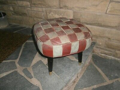 A Genuine Shebourne Distressed Leather Footstool / Pouffe Pat No. 806774 Retro