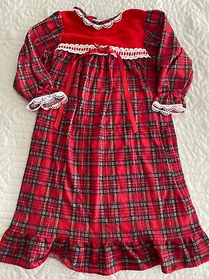 Vtg LAURA DARE Red Flannel FLAME RETARDANT NIGHTGOWN USA 24 months 2T Christmas