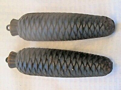 """Two (2) Large Iron Cuckoo Clock Weights, Pine Cone Style,  7"""" LONG 2.12 LBS EACH"""