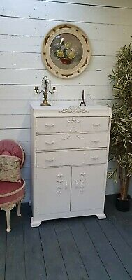 Vintage Painted Linen Cupboard Tallboy Drawers Shabby Chic CAN ARRANGE COURIER