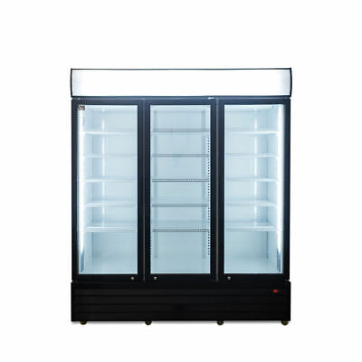 3 Door 1500L Commercial Upright Glass Display Fridge Drinks Showcase LED Lights