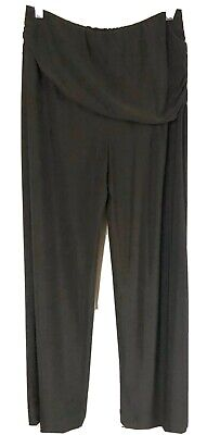 M by Marc Bouwer Women's Pants Small Black Pull-on Wide Leg Ruched Overlay L12