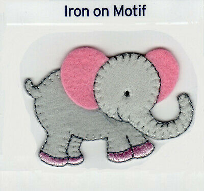 Pink Grey Baby Elephant Iron On Applique Motif Patch, Brand New