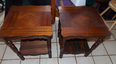 Pair of Mahogany Inlaid End Tables / Side Tables  (T934)