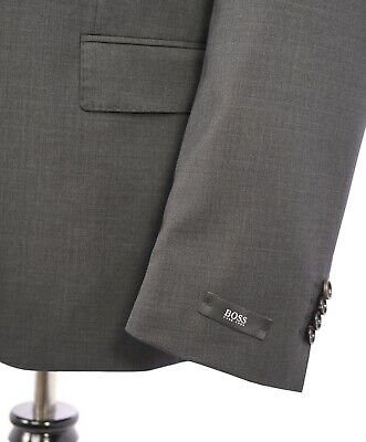 "$995 HUGO BOSS -""Huge1/Genius1"" Gray Suit Genuine HORN Buttons ""Stretch"" - 38L"