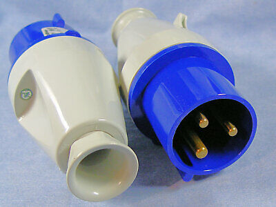 Lot of 2 Walther Type 231306 32A-6h 230/250V (3 Pins) Pin & Sleeve Male AC Plugs