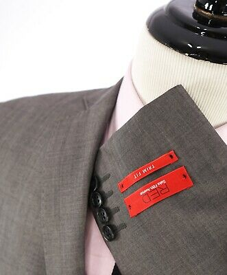 """$995 SAKS FIFTH AVENUE - """"RED"""" Gray Textured Trim Fit Suit - 38S"""