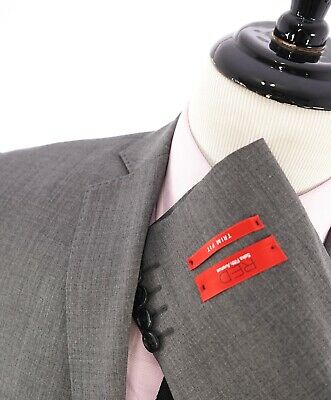"""$995 SAKS FIFTH AVENUE - """"RED"""" Gray Textured Trim Fit Suit - 40R"""