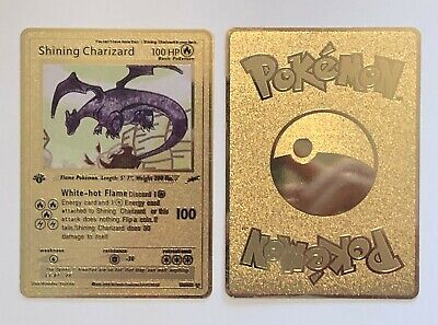 Pokemon Shining Charizard Gold Metal Custom Card - Neo Destiny Card