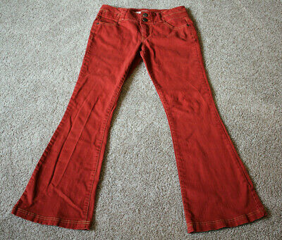 Mossimo Supply Co Dark Red Orange Flare Denim Pants Womens Juniors Size 9 Fit 6