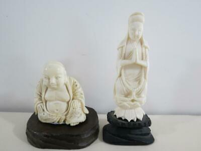 (2) Antique Asian Chinese Japanese Carved Ox Small Figurines