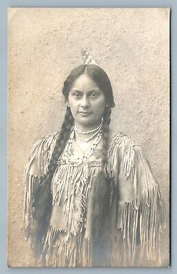 American Indian Squaw Antique Real Photo Postcard Rppc