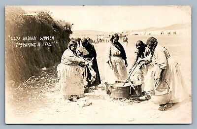 American Sioux Indian Women Preparing The Feast Antique Real Photo Postcard Rppc