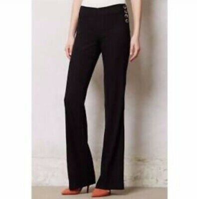Anthropologie Elevenses Womens Size 8 The Brighton Wide Legs Tall Trousers Black
