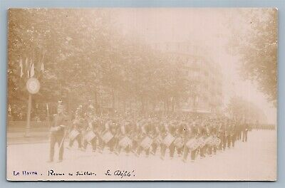 Le Havre France Wwi Military Parade Antique Real Photo Postcard Rppc