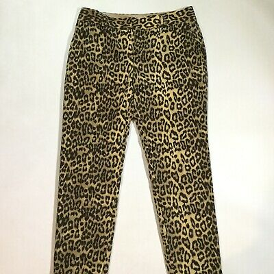 Banana Republic Womens Size 4 Leopard Print Skinny Ankle Pants In Brown