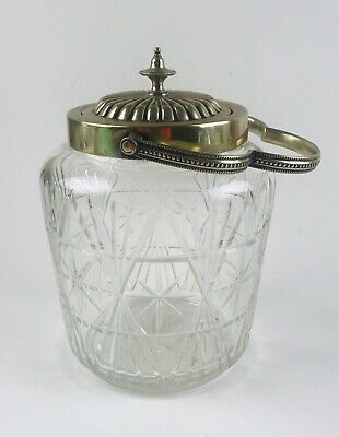 Beautiful Vintage Cut Glass MCM Atomic Starburst Biscuit Jar Handle Lid