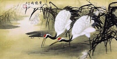 STUNNING ORIENTAL ASIAN FINE ART CHINESE WATERCOLOR PAINTING-Crane birds lover