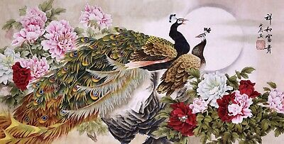 STUNNING ORIENTAL ASIAN FINE ART CHINESE WATERCOLOR PAINTING-Peacock birds lover