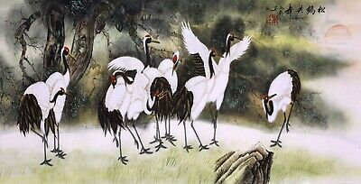 100% ORIENTAL ASIAN FINE ART CHINESE WATERCOLOR PAINTING-Eagle birds&Pine Tree