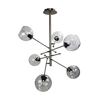 Brass 6 Light Modern Adjustable Arm Rod Ceiling Pendant With Clear Glass Shades