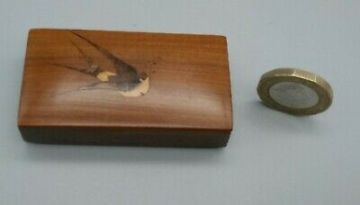 Antique Vintage SORRENTO Ware Inlaid Inlay Birds Treen Wooden Olive Small Box