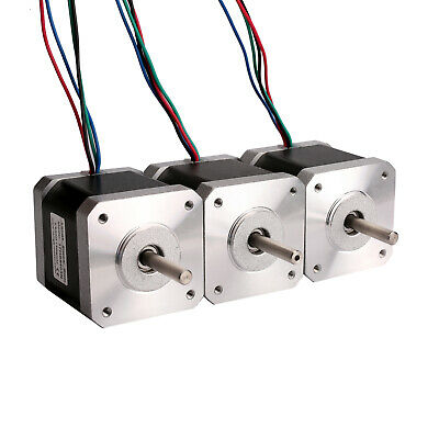 HOT!3PC Stepper motor Nema17 0.5N.m 4-Lead 1.5A 2 phase Flat shaft 3D printer